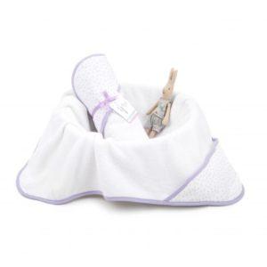 Ręcznik bawełniany z kapturem 90×90 cm Lavender Dots M