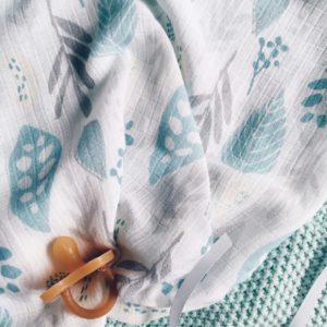Pieluszka bambusowo-muślinowa 55x60cm Floral turkus