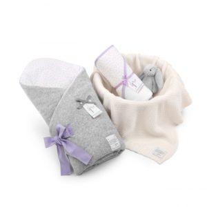 Wyprawka Lavender Dots (rożek+ręcznik+dowolny kocyk)