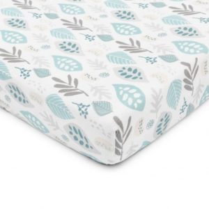 Prześcieradło do łóżeczka Floral turkus 120×60 cm